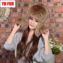 2019 Winter Genuine Real Fox Fur Bomber Hat Women 100 Natural Real Sheepskin Leather Cap Russia Warm Real Fox Fur Bomber Caps cheap Adult Solid Bomber Hats YH-FUR-6298 100 real natural fox fur 100 real genuine sheepskin leather adjustable suitable for everyone