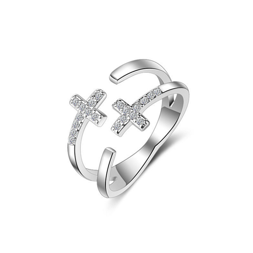Simple Cross ring for women adjustable opening finger jewelry setting zirconia cute ring jewelry nickel-free fashion jewelry