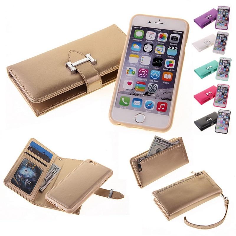 Цена за Стильный Рождественский Подарок Съемный Бумажник Фолио 2 в 1 Кожа сотовый Телефон Бумажник Чехол На Молнии Чехол для iPhone 6 Плюс Случае роскошные