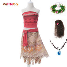 PaMaBa Moana Princess Girls Dress Cosplay Costume Summer Baby Girl Clothes Kids Vaiana Party Supplies with Necklace Wig Garland(China)