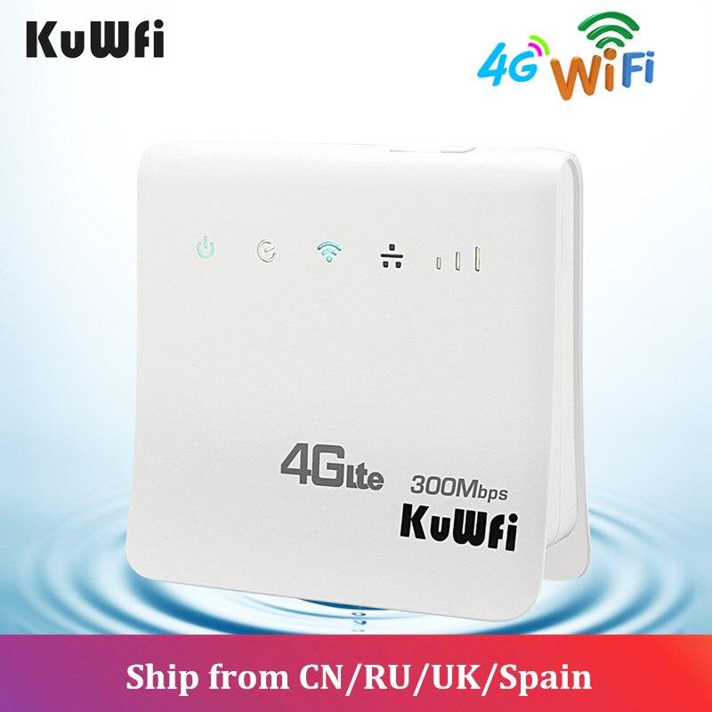 Enrutador KuWFi 300Mbps Enrutador 4G LTE CPE Enrutador inalámbrico para interiores WiFi Enrutador inalámbrico de 2.4GHz Hotspot con puerto LAN Ranura para tarjeta SIM - 4