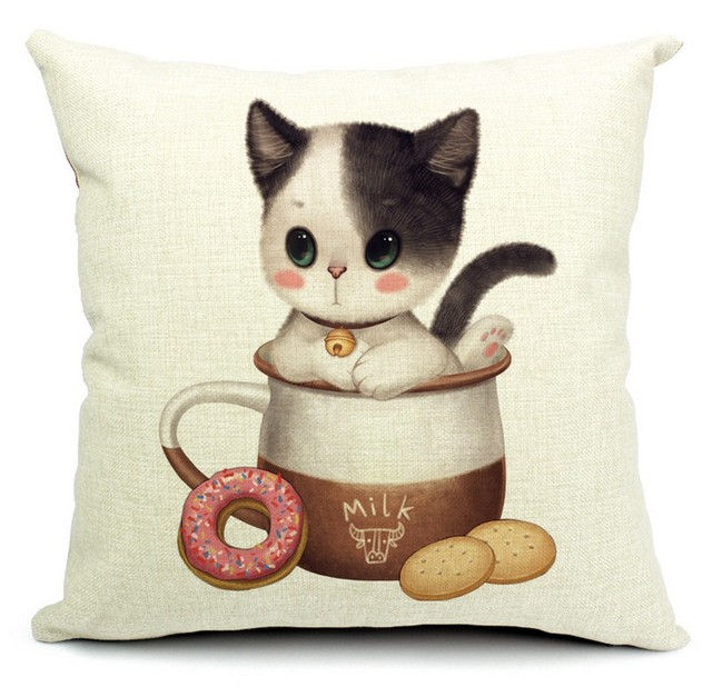 The Kitten In Milk Cookie Jars Cat Pillows Emoji Euro Home Decor Pillow  Environment Enhance Gift
