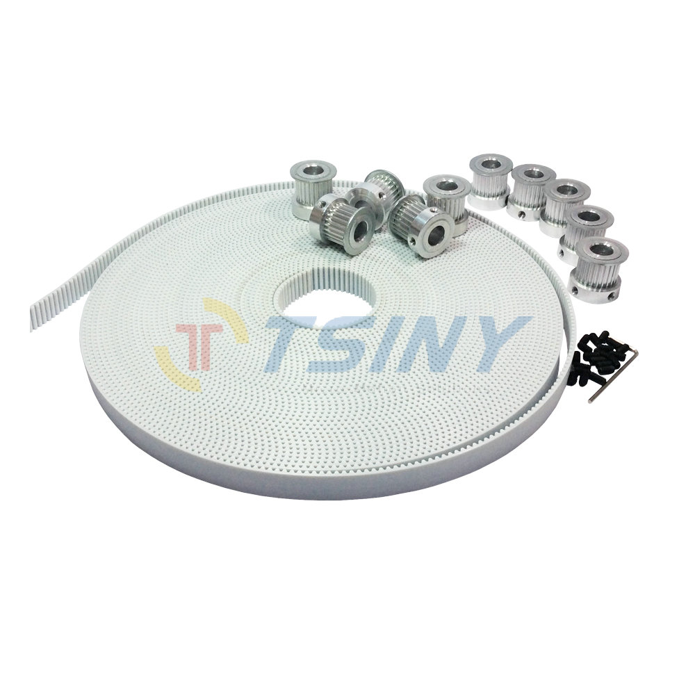 HTD 3M 10 Meters PU White Open Ended Timing Belt and 25 Teeth Aluminium Pulley 10pcs Fit for 3M Belt Width 15mm Pitch 3mm htd 3m timing belt 10 meters open ended rubber belt