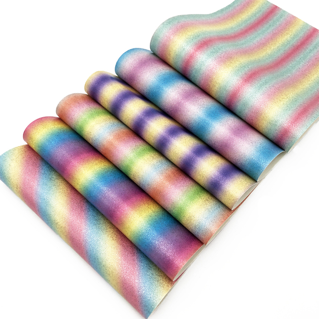 David accessories 20 34cm glitter Gradient color Rainbow vinyl Faux  Synthetic Leather Fabric DIY Decorative knotbow Bags c5ac15c2f7d9
