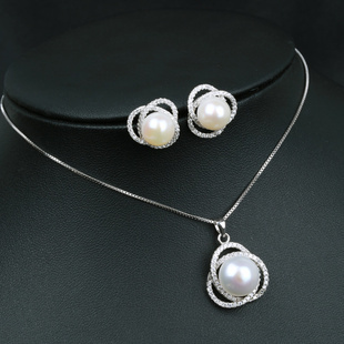 New natural freshwater pearls jewelry sets 925 sterling silver new natural freshwater pearls jewelry sets 925 sterling silver earringspendant necklace tricyclic design women wedding gifts in jewelry sets from jewelry aloadofball Images