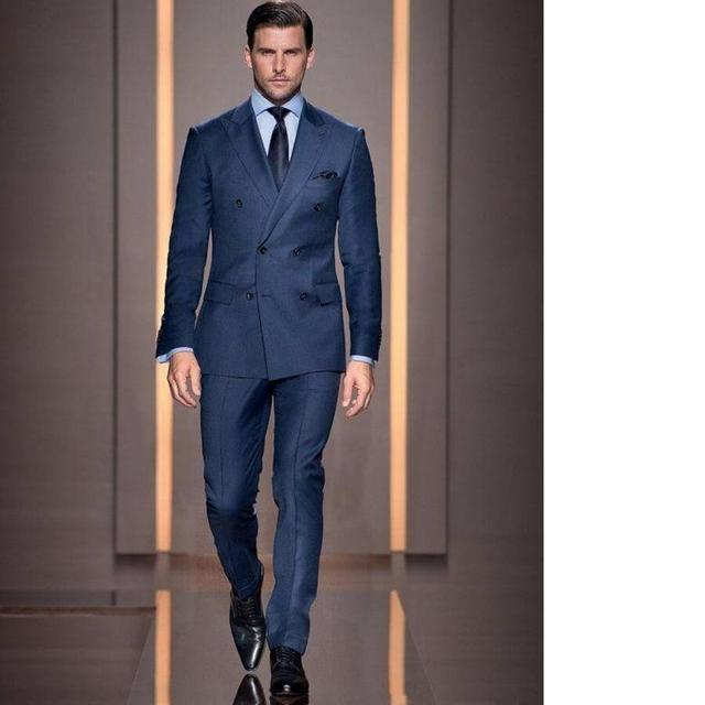 Italian Style Navy Blue Groom Tuxedos Double Breasted Slim Fit Mens Wedding  Party Suits Bridegroom Groomsman 3e379ccee98f
