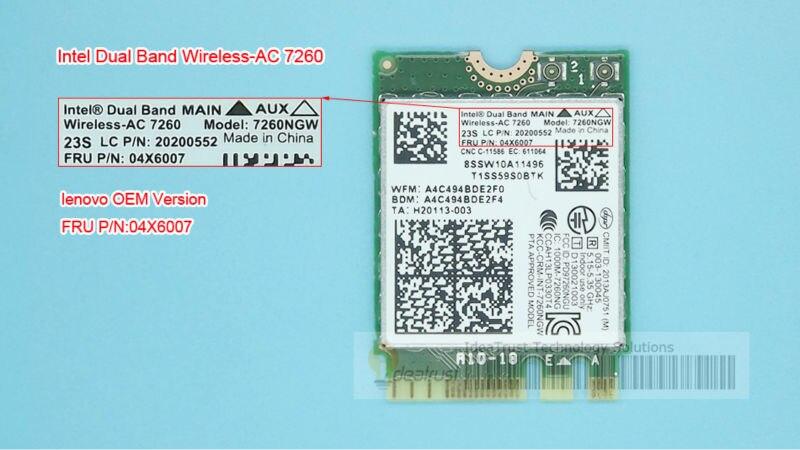 Prix pour Marque nouvelle pour Intel 7260NGW 7260ac 7260 ac 2.4/5G BT4.0 FRU 04X6007 Pour Thinkpad X250 x240 x240s x230s t440 w540 t540 Yoga y50