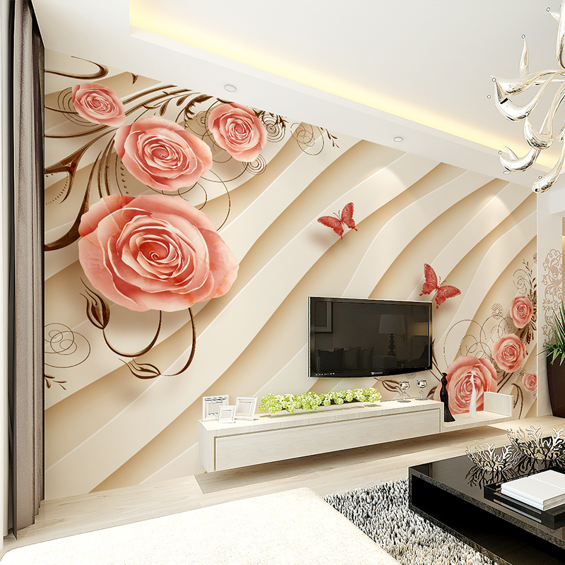 3D Stereo Beautiful Rose Flower Wallpaper Sofa Background