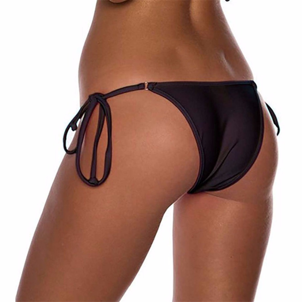 2018 tiny Sexy string side tie brazilian bikini bottom swimwear women micro mini Thong brasil Female Tanga panty underwear K100 5