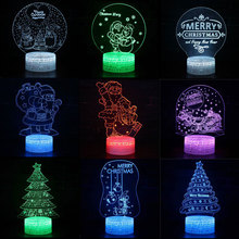 Santa Claus Christmas Tree Colorful LED 3D Visual Night Light Creative Table Light Novelty Illusion Lamp Children Gift Souvenir christmas santa claus night light 3d visual acrylic led desk lamp led christmas decorations for home lights kids new year gift