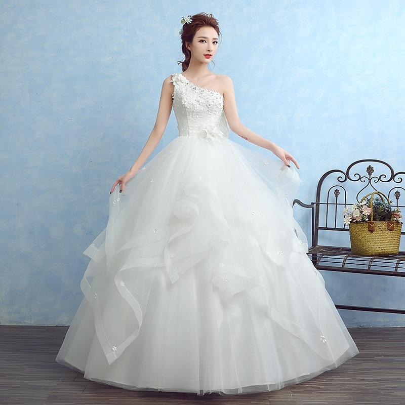 Us 7899 21 Off2017 New Elegant Wedding Dresses Whiteivory Ball Gown Princess Formal Dress One Shoulder Vestidos De Novia Bridal Gown In Wedding