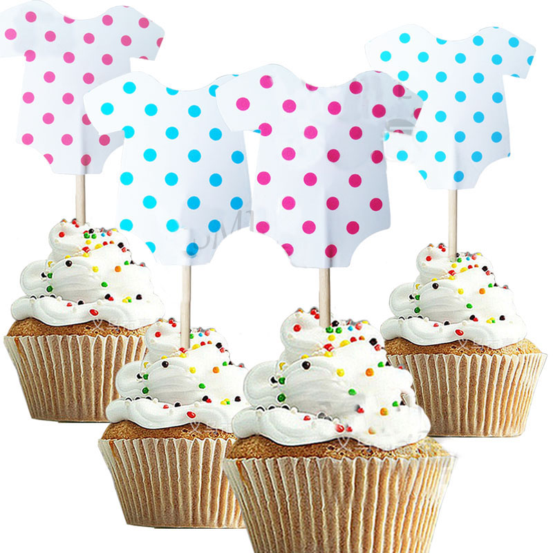 24pcs/48ps Cute baby boy girl Baby clothes Cupcake topper ...