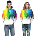 2017 Male 3d Hoodies Rainbow Paint Print Spring Autumn Long Sleeve Unisex Clothing Men Casual Loose Hooded Round Neck Tops