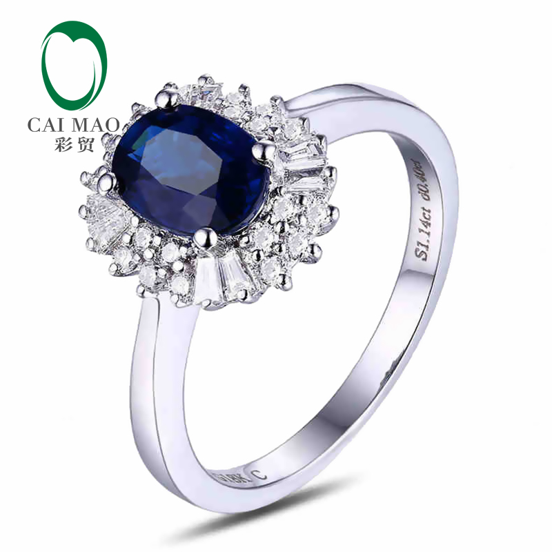 CaiMao 18KT/750 Or Blanc 1.14 ct Naturel Saphir y & 0.38 ct Full Cut Diamond Engagement Anneau de Pierre Gemme bijoux