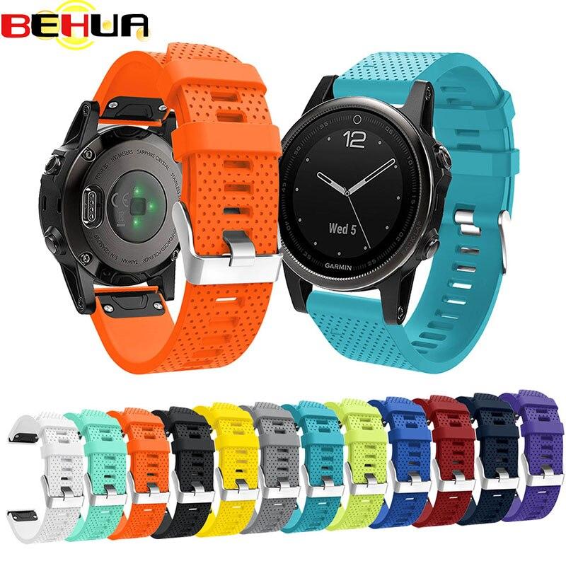 Silicagel Soft Band Strap Watchband  Bracelet Wrist Strap for Garmin Fenix 5S Watch Replacement Silicone Wrist Band watchband