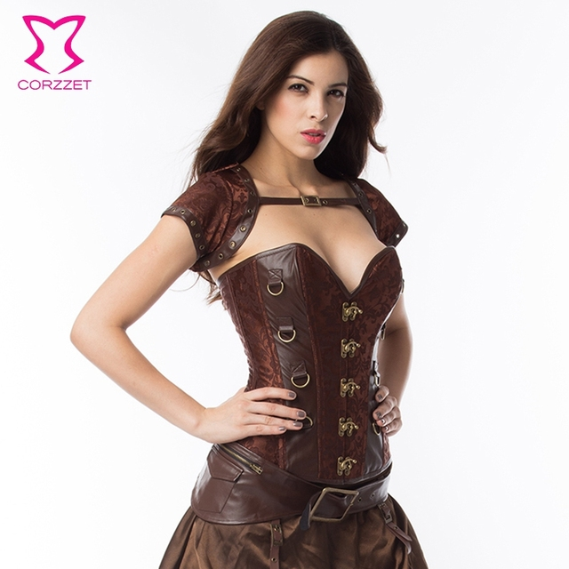 4fb7e86bd9c Sexy Plus Size Corsets And Bustiers 6XL Vintage Brown Steampunk Corset  Steel Bones Sexy Corselet Women Gothic Burlesque Costumes