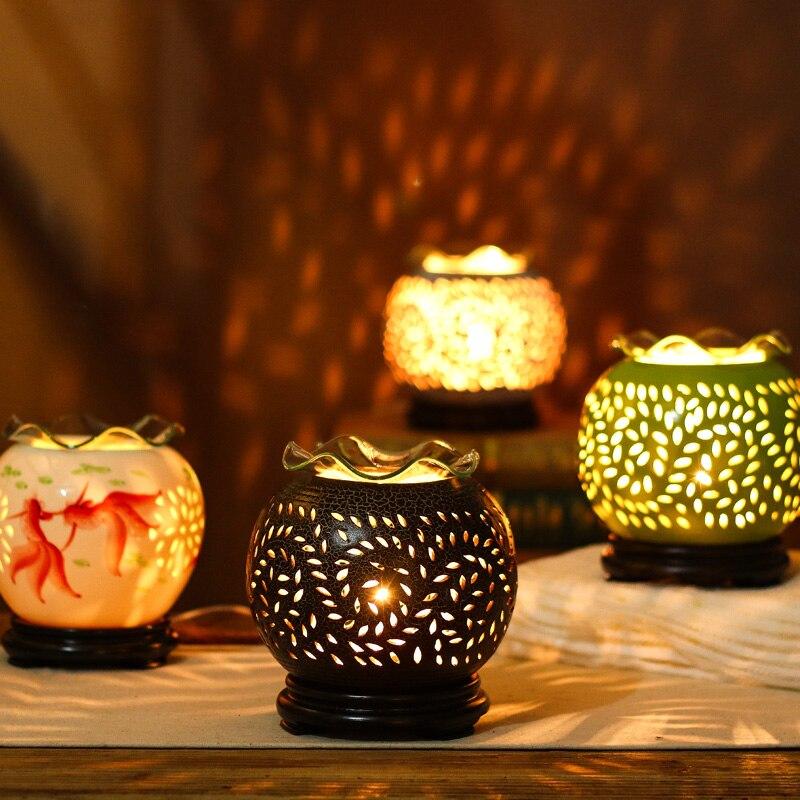 220V Ceramic Aroma Lamp Electric Dimming Oil Burner Goldfish Incense Burners Home Essential Oil Diffuser Romantic Fragrance Lamp 3