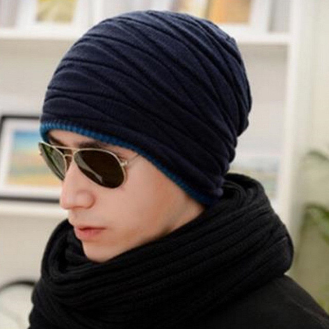 Autumn Spring New Fahsion 2016 Cool Knitted Wool Mens Hat Beanies Men Warm  skullies Casual Hip cab982b60f5