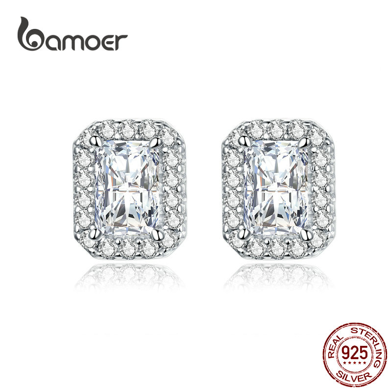 Bamoer Luxury Wedding Square Stud Earrings For Women 925 Sterling Silver  Clear CZ Engagement Statement Jewelry Gifts BSE195