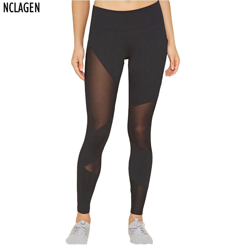 NCLAGEN Women Mesh Black Transparent Comfortable Pant Sexy Slim Fit Leggins Stirrup Workout title=