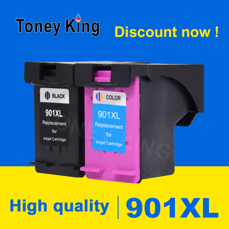 Toney King 901XL Refilled Ink Cartridge Replacement For <font><b>HP</b></font> <font><b>901</b></font> <font><b>XL</b></font> Officejet J4540 J4550 4500 J4524 J4530 Printer Cartridges image