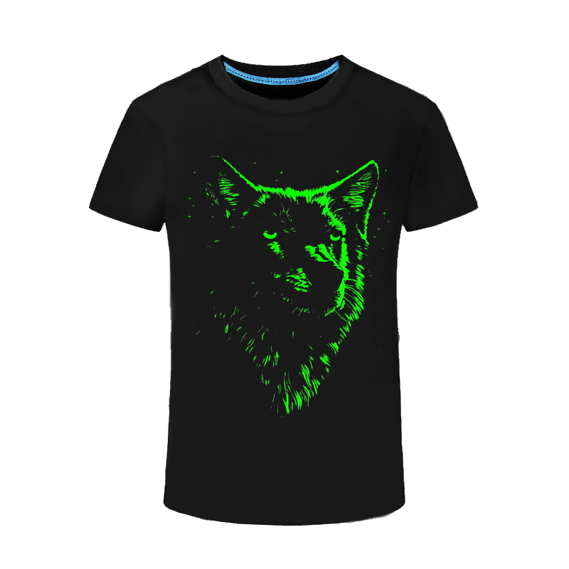 Funny Fluorescent   T     Shirt   Men Animal Wolf 3D Pattern Luminous In Night Short Sleeved Teens Tee   Shirts   Glow In Dark Black Tops