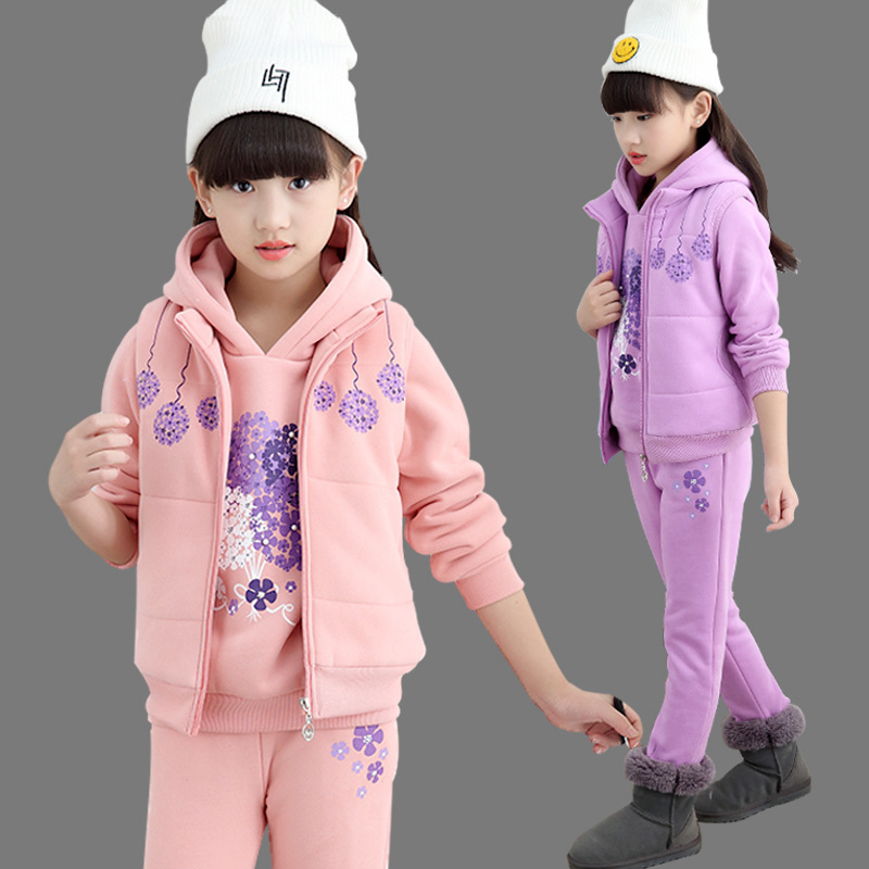 2018 Winter Baby Girls Clothes Sets Children Cotton Coat+Waistcoat+Pants Kids Bottom Warm Outerwear Suits Clothing GH282 korean baby girls parkas 2017 winter children clothing thick outerwear casual coats kids clothes thicken cotton padded warm coat