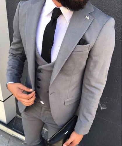 2020 カスタム喫煙男性のグレーウェディング最高の男最高の男性のスーツ 3 個パーティースリムフィットドレスボールファッショントレンド新製品