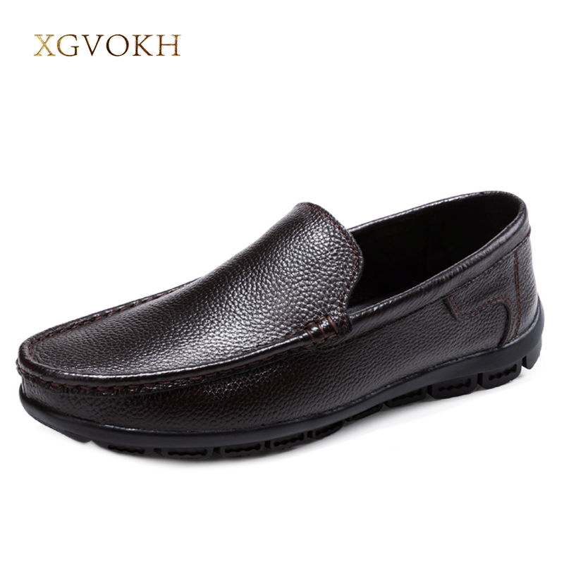 Men Genuine Leather Shoes Solid XGVOKH 2018 Fashion Casual Mens Loafers Moccasins Slip On Men's Flats Male Dress shoes big size big size 39 48 men flats summer genuine leather loafers breathable driving shoes moccasines slip on male casual shoes xk032808