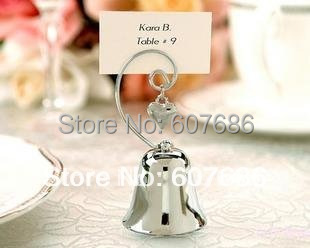 Wholesale 50 Pieces Charming Chrome Bell Place Card Photo Holder with Dangling Heart Charm Party Supplies Fast Free Shipping