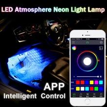 KAMMURI 4strip set Interior Decorative LED Atmosphere Neon Light Lamp APP Intelligent Control Multi Color RGB