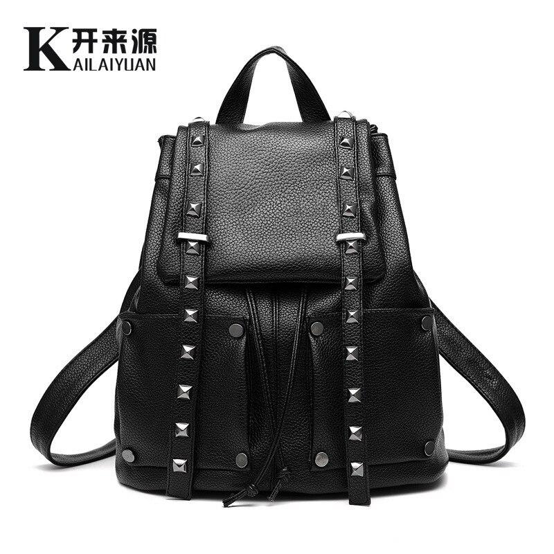 QIAN YI YUAN Back Pack Brand Vogue Star 2016 NEW fashion backpack women backpack Leather school