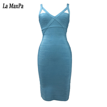 2017 Women Squin Sexy V Neck spaghetti strap Summer Mini Dresses blue black Hollow Out Celebrity Evening Party Bandage Dress