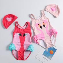 Girls swimwear Children swimsuit 1~10Years Girls swimsuit one piece Kids swimwear with Hat Children Beachwear 2019-ST119