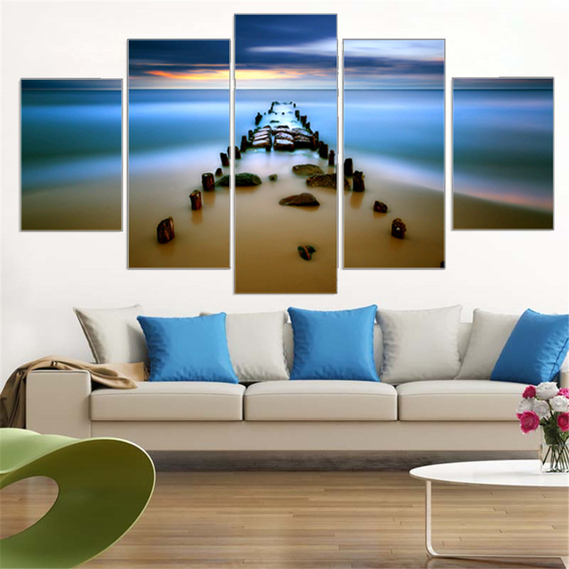 Canvas painting sea bay sunset beach canvas wall art oil picture art print woks home decoration