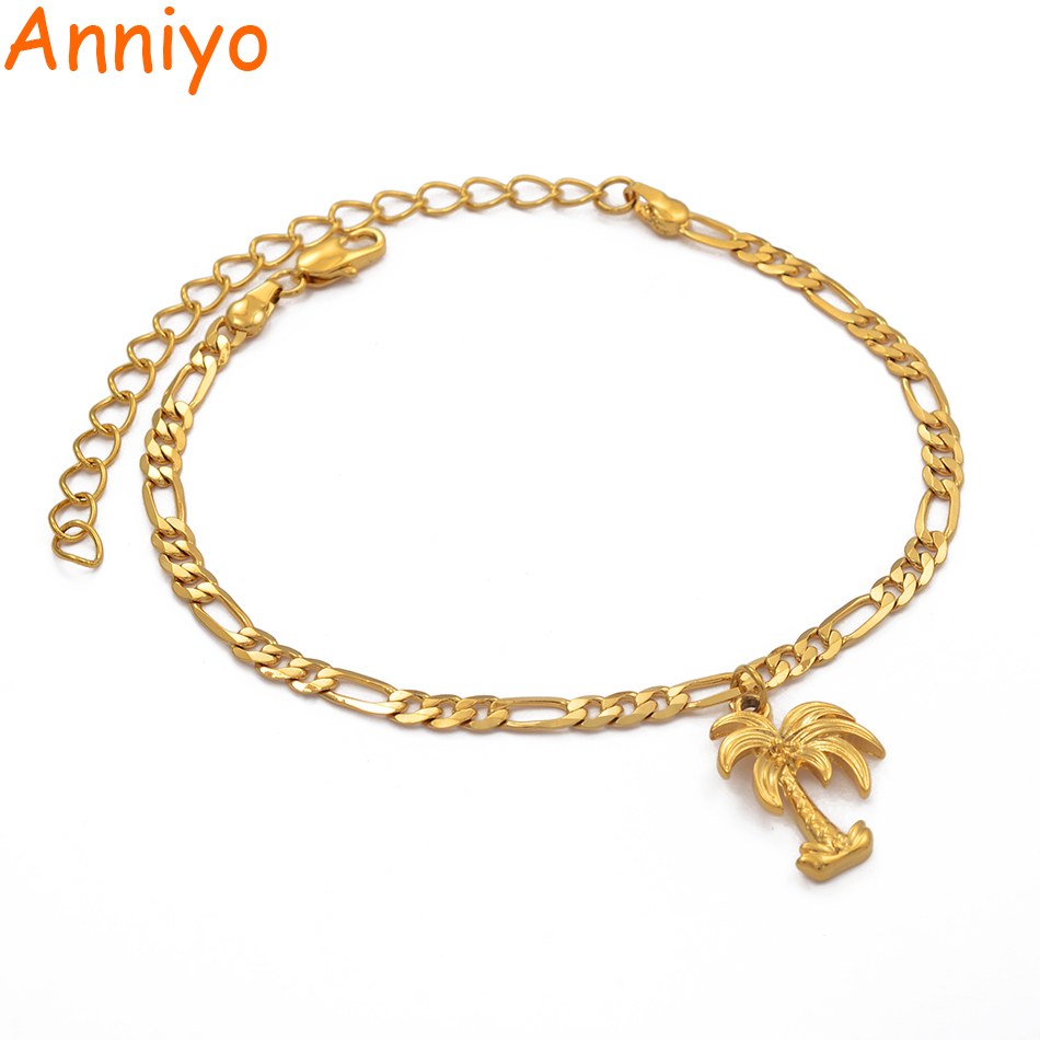 Anniyo Coconut Tree Anklets Gold Color Jewelry Plant Charm Palm Foot Chains for Women Mom Wedding and Party Gifts #214806