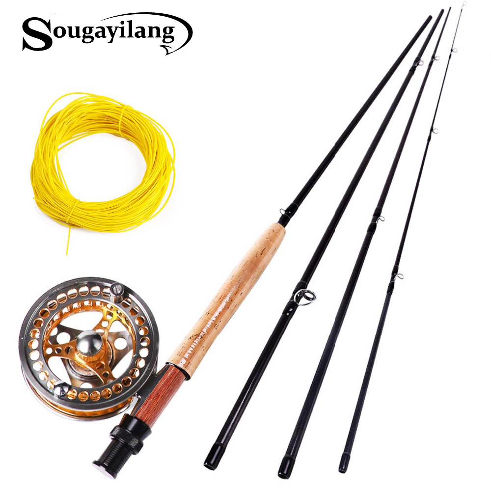Sougayilang 2.7M Fly Fishing Rod And Fly Reel Fly Line Combo Set Full Metal 5/6 Reels Carbon Fishing Pole Fish Line Fish TackleSougayilang 2.7M Fly Fishing Rod And Fly Reel Fly Line Combo Set Full Metal 5/6 Reels Carbon Fishing Pole Fish Line Fish Tackle