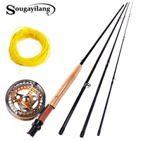 Sougayilang 2.7M Fly Fishing Rod And Fly Reel Fly Line Combo Set Full Metal 5/6 Reels Carbon Fishing Pole Fish Line Fish Tackle