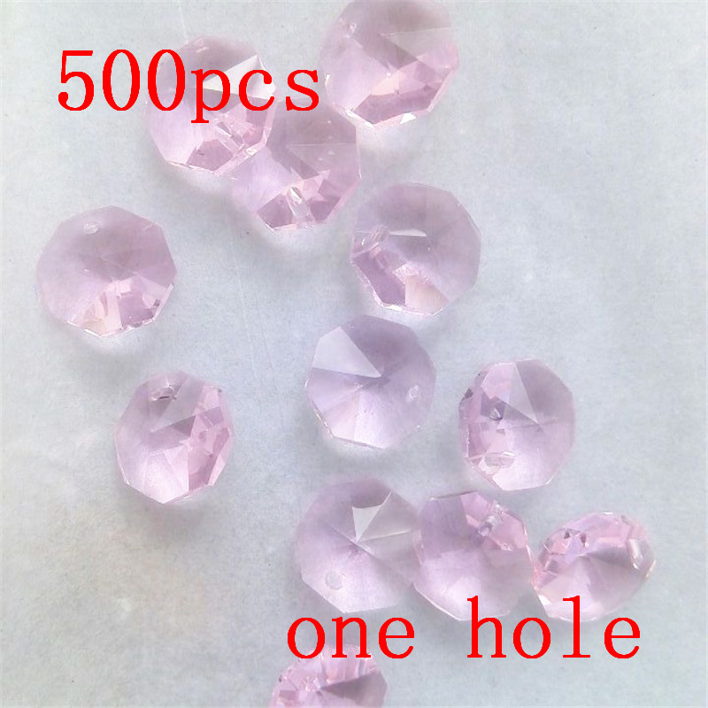 Romantic 500pcs/lot 14mm Pink Crystal Octagon Beads In One Hole Free Shipping Chandelier Lamp Beads Dress Christmas Tree Beads Chandelier Crystal