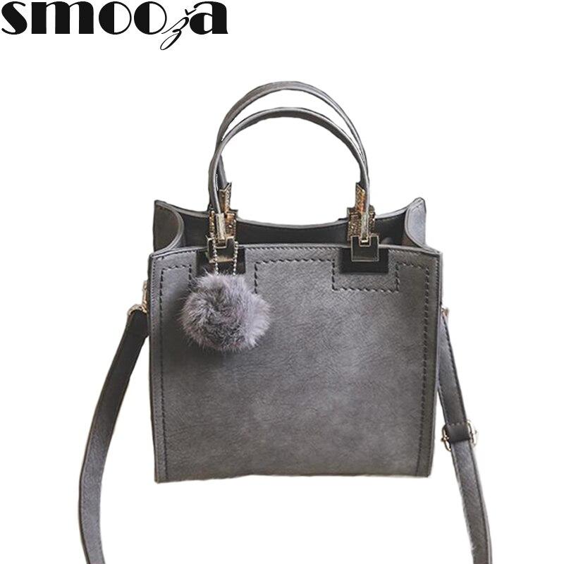 2971acab9b SMOOZA Hot Sale Suede Leather Bags fur ball Women bags Brand Designer  Handbags High Quality Totes