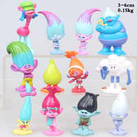 Trolls-figuras de Poppy Branch, Biggie Guy, Diamond Smidge Cloud Guy con pelo largo, Mini modelo de juguete, regalo de cumpleaños, 12 Uds. Por lote