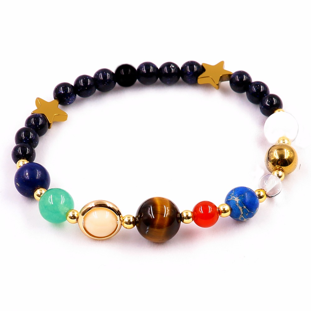 Universe Galaxy the Eight Planets in the Solar System Guardian Star Natural Stone Beads Bracelet for Women & Men Jewelry Gift