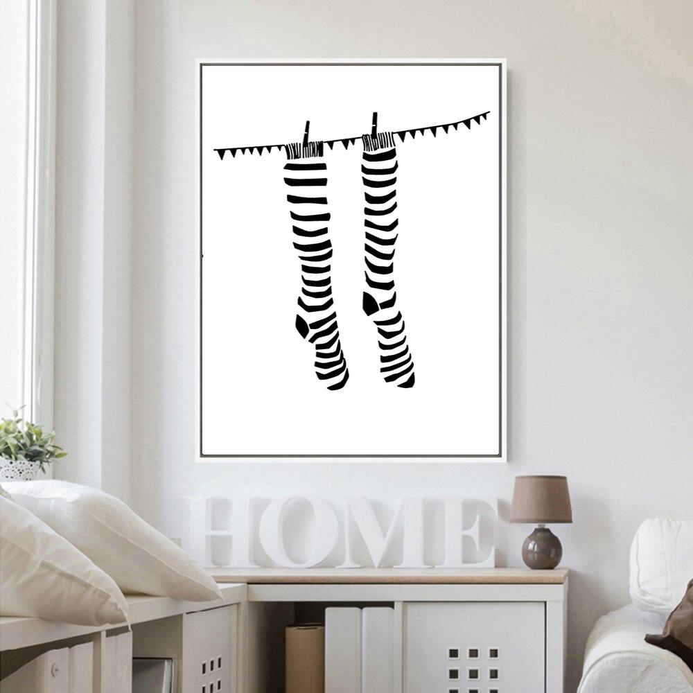 っmoderne Minimaliste Art Abstrait Chaussettes Noir Blanc Posters
