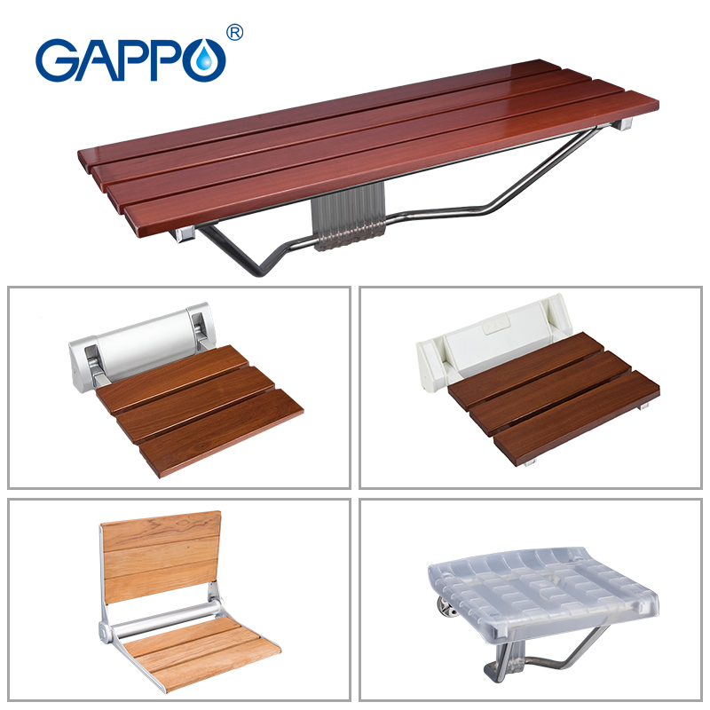 GAPPO Wall Mounted Shower Seat Folding Bench For Adults Hospital Medical Care Bath Shower Stool Home Entrance Folding Save Space