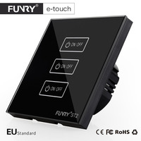 Funry ST2 3Gang EU Wall Touch Switch Lighting Smart Remote Control Luxury Tempered Glass Surface Led