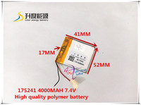 7 4V 4000mAH 175241 Polymer Lithium Ion Li Ion Battery For Tablet Pc Power Bank Gps
