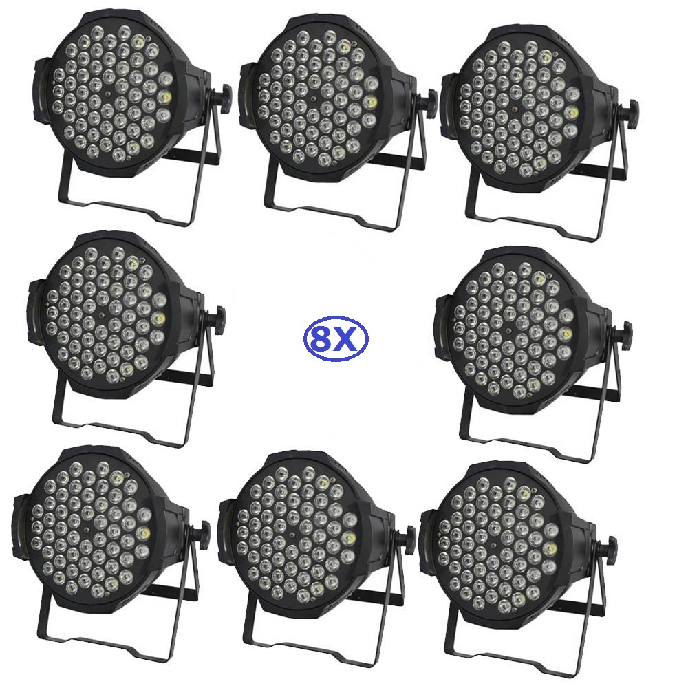 8Pcs/Lot Newest 54X3W RGB 3IN1 LED Par Light 180W High Brightness LED Par Cans For Party Wedding Disco Events Lighting 2pcs lot led par cans 54x3w rgb 3in1