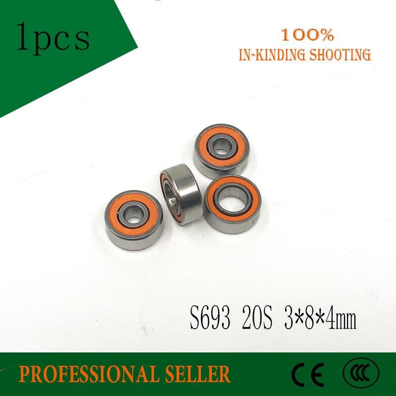 1 pcs 3x8x4mm Inoxydable hybride en acier à billes en céramique roulements 3x8x4 S693 2OS CB ABEC7 LD De bateau De Pêche S693-2RS