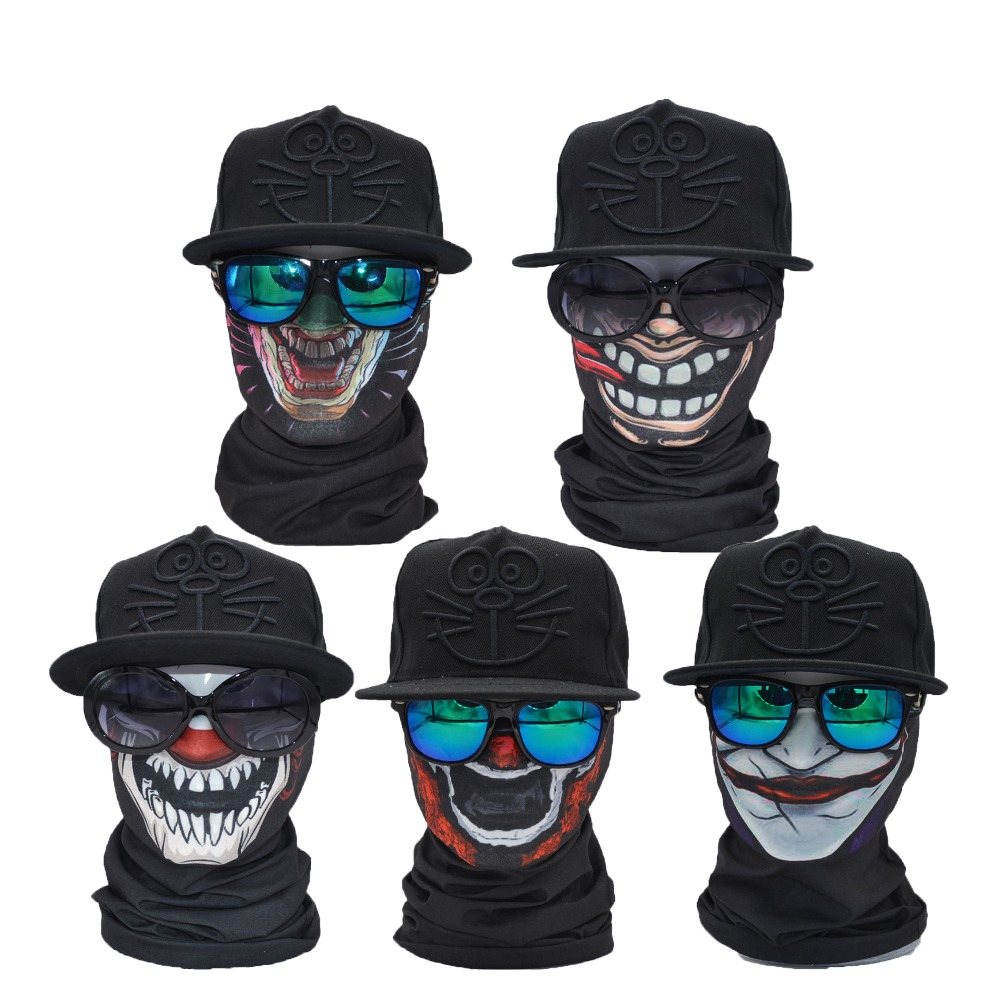5pcs/lot Multifunctional Skull Face Shield Bandana Seamless Multi Use Clown Bandana multifunctional arm shield defense shield aluminum shield riot shield