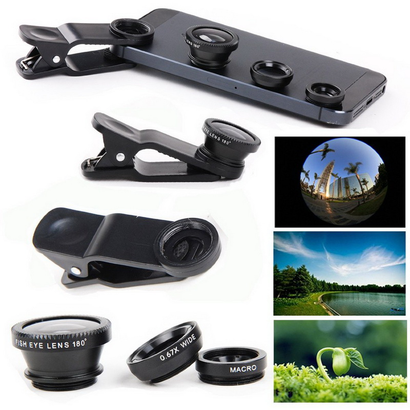 Universal Cell Mobile Phone Lense Fish Eye Lente For iPhone Samsung HTC LG Phone Ect.3 in 1 Wide Angle Macro Fisheye Lens Camera